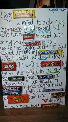 Pin by Rachael St Cyr on food Dating anniversary gifts Candy bar posters Anniversary gift Pin by Rachael St Cyr on food Dating anniversary gifts Candy bar posters Anniversary gift Valentines Day Ideas Valentines nbsp hellip Dating Anniversary Gifts, Anniversary Gifts For Parents, Boyfriend Anniversary Gifts, Anniversary Quotes, Wedding Anniversary, Marriage Gifts, Relationship Gifts, Relationships, Dating Gifts