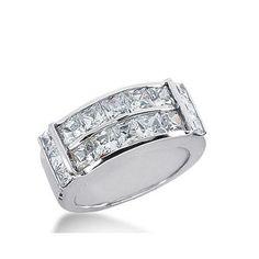 Amazon.com: 950 Platinum Diamond Anniversary Wedding Ring 16 Princess Cut Diamonds 3.58ctw 368WR1529PLT: Clothing