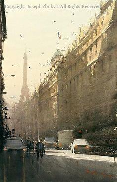 Boulevard St. Denis - Watercolor by Joseph Zbukvic