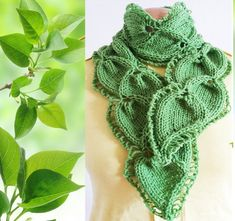 Scarf Leaf Twin Hand-knit от Giezen на Etsy