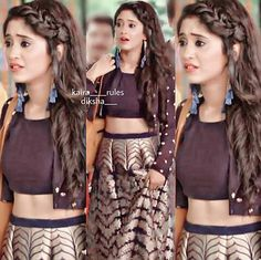 shivangi joshi Lehenga Hairstyles, Girl Hairstyles, Open Hairstyles, Bridal Hairstyles, Indian Dresses, Indian Outfits, Girl Fashion, Fashion Dresses, Front Hair Styles