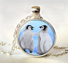 Penguins Art Pendant, Penguin Necklace, Penguins Jewelry, Art Pendant, Picture Pendant, , Jewellery, Print, Gift (0629)