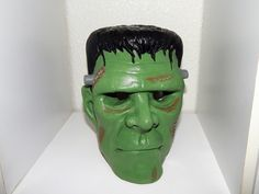 Hand Painted Plaster Frankenstein Head Light by QuietBendCreations
