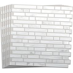 Smart Tiles 6 Pack White Silver Composite Vinyl Mosaic Subway Peel And