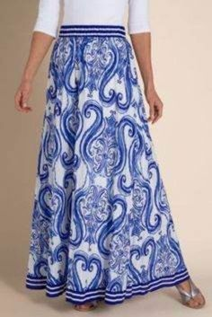 Soft Surroundings NEW Mazarine Crinkle Cotton Voile Stylized Print Skirt, PXS #SoftSurroundings #FullSkirt