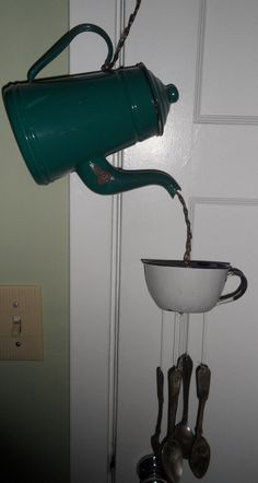 ANTIQUE GRANITEWARE WINDCHIME, teapot & cup,  Original, one of a kind,  upcycled,  work of art, green