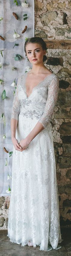Evangeline silver lace wedding dress by Claire Pettibone, Photo: Ellie Grace  https://couture.clairepettibone.com/collections/gothic-angel-wedding-dresses/products/evangeline