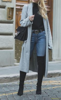 Women winter outfits with jeans and cardigan Casual Winter Outfits, Winter Cardigan Outfit, Winter Outfits For Teen Girls, Winter Mode Outfits, Winter Outfits For School, Winter Fashion Outfits, Look Fashion, Outfits For Teens, Ladies Outfits