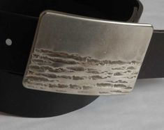 Mens Belt Buckle Hand Forged Landscape Stainless by ironartcanada