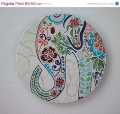 SALE -- Mouse Pad mousepad / Mat - Rectangle or round - Pretty Elephant on Etsy, $9.00