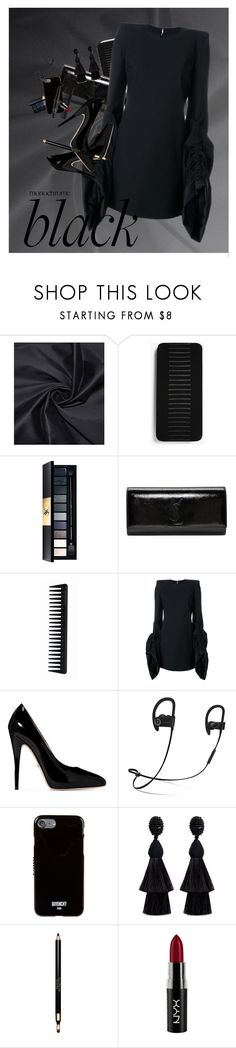 """""""Monochrome: All Black Everything"""" by sharmarie ❤ liked on Polyvore featuring Express, John Lewis, Yves Saint Laurent, GHD, Gucci, Beats by Dr. Dre, Givenchy, Oscar de la Renta, Clarins and NYX"""
