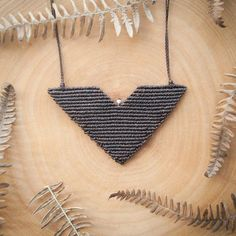 Macrame necklace, geometric chevron macrame necklace, chevron brown necklace, micro macrame big chevron necklace, modern macrame necklace. ● D E S C R I P T I O N With this chevron macrame necklace youll instantly add a modern style to your look. Its handmade with brown thread and