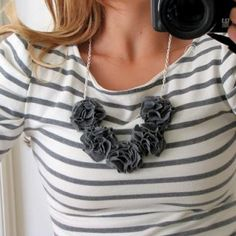 Anthropologie inspired fabric necklace under $5.  Step by step instructions