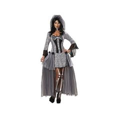 Women's Skeleton Bride Costume Medium, Gray ($60) ❤ liked on Polyvore featuring costumes, grey, halloween, adult women costumes, adult costumes, party halloween costumes, skeleton costume and womens halloween costumes