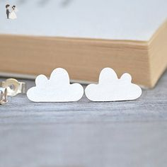 happy cloud earring studs in sterling silver - Wedding earings (*Amazon Partner-Link)