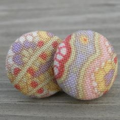 Fabric Button Earrings Lavender Pink Gold Paisley by westbyron, $12.00