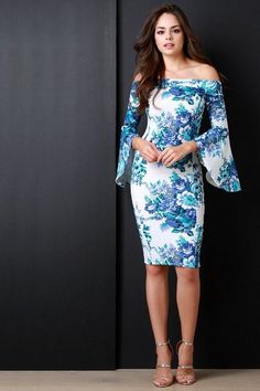 Off The Shoulder Floral Print Bell Longsleeve Dress - Beauty & Bronze Clothing and Accessories Dress Skirt, Dress Up, Bodycon Dress, Dress Long, Short Dresses, Summer Dresses, Formal Dresses, Womens Clothing Stores, Clothes For Women