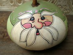 Shabby Chic Santa / Hand Painted Gourd Green by WinterFolkWhimsy, $23.00
