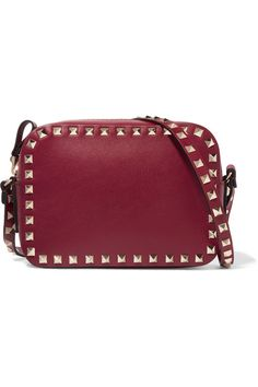 Valentino - The Rockstud Leather Camera Bag - Burgundy