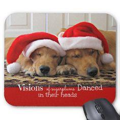 Golden Retriever Christmas Dreams Mouse Pads