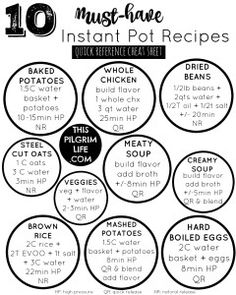 Free printable Instant Pot cooking times sheet to keep