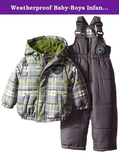f9176309e Weatherproof Baby-Boys Infant Polyfilled Puffer Snowsuit, Charcoal, 12  Months. Poly filled puffer snowsuit.