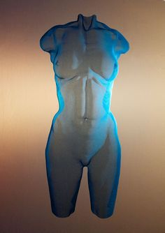 """Mesh Art - a wiremesh sculpture titled """"CHROMB 2015"""" - painted bronzemesh, unique - a female suspended torso  by David Begbie, sculptor, UK."""