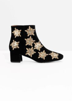 & Other Stories image 1 of Sequin Suede Boots in Black