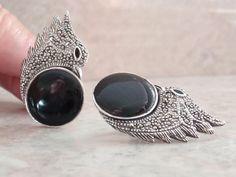 Onyx Bird Earrings Sterling Silver Italy Marcasites Clip On Vintage RC0163 #ItalianEarrings #sterlingsilver #birdearrings #marcasites #vintage #blackonyx