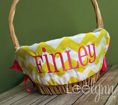 Personalized Easter Basket Liner  Yellow Chevron  by LeelynnCrafts