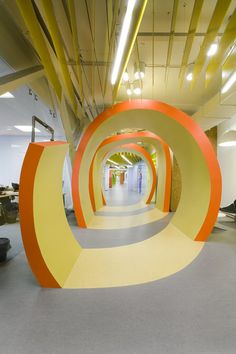 This 2011 project is one of two offices, designed by Za Bor Architects for one of Russia's largest IT companies, located in Saint Petersburg, Russia.    Over-sized symbols and pixelated graphics add unique character to its colorful interior.