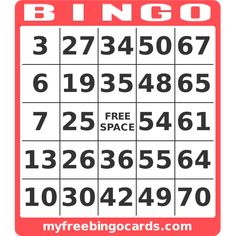 myfreebingocards.com - free printable 1-75 number bingo card generator for Bingo for Books Family Night
