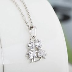 Kuniu 18k Gold Plated Boy Girl Crystal Pendant Charm Necklace