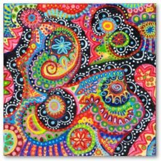 Mexican Folk Art Inspired Doodle Abstract Pattern Patterns