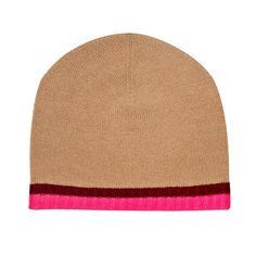 Pure cashmere intarsia knit beanie hat in neutral with neon pink and burgundy trim