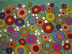 Abstract Garden by Karla Gerard - Abstract Garden Painting - Abstract Garden Fine Art Prints and Posters for Sale Canvas Art, Canvas Prints, Art Prints, Karla Gerard, Garden Painting, Garden Art, Flower Doodles, Naive Art, Whimsical Art