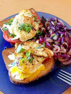 Eggs on top of tomato, basil, mozzarella, and toast. Sautéed onion and cabbage on the side Tomato Basil, Egg Recipes, Bruschetta, Mozzarella, Farms, Onion, Cabbage, Toast, Eggs