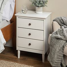 Complete your elegant, contemporary bedroom with the White Wood Nightstand! Its white finish and tapered legs add a rich touch to your bedroom decor. 3 Drawer Bedside Table, White Nightstand, Dresser As Nightstand, Cheap Nightstand, Nightstand Ideas, Pallet Furniture, Bedroom Furniture, Bedroom Decor, Master Bedroom