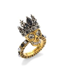 Alexander McQueen Queen Skull Crystal Ring