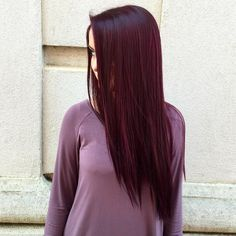 Long Burgundy Hairstyle For Straight Hair