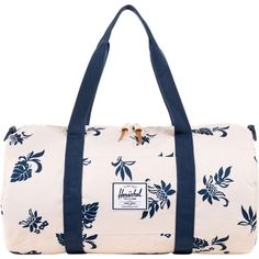 Herschel Tropical Flora Sutton Duffle Bag ($60) ❤ liked on Polyvore featuring bags, white, white bags, duffle bag, white handle bags, handle bag and white duffle bag