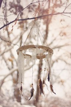 Feather Mobile: Lace and Burlap, real bird feathers on Etsy, $86.00