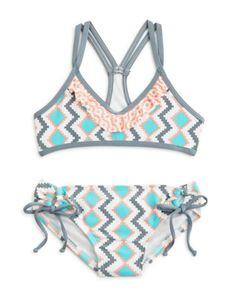 Splendid Girls' Geometric Print 2-Piece Swimsuit - Sizes 7-14