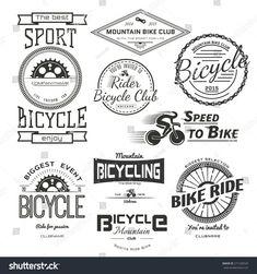 Bicycle Badges Logos Labels Any Use Stock Vector (Royalty Free) 271258529 Bike Logo, Performance Bike, Pink Bike, Logo Design, Graphic Design, Cool Bicycles, En Stock, Logo Images, Retro