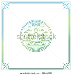 Vector illustration in trendy linear style - woman in lotus pose - logo or print…