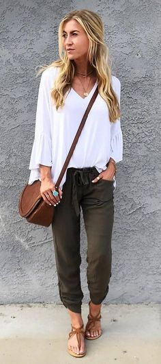 boho style perfection: top + pants + bag + sandals