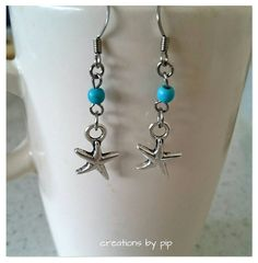 Check out this item in my Etsy shop https://www.etsy.com/listing/240921261/silver-star-earrings-with-turquoise-blue