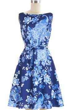 *pre-order* boatneck fit-n-flare monique dress - midnight peacock blue | le bomb shop