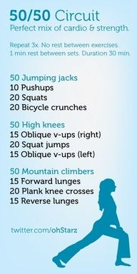 Ive sworn off fitsperation but I know Dooce knows what shes doing. // Cardio? Strength? Do both with this 50/50 circuit workout that keeps your heart rate up and your muscles confused.
