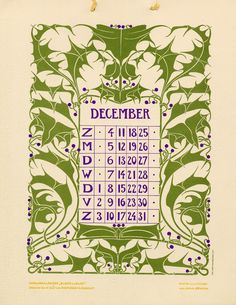 Anna Sipkema, illustrator (1877-1933). December. Bloem en blad (Flower and leaf). 1904. Dutch calendar.